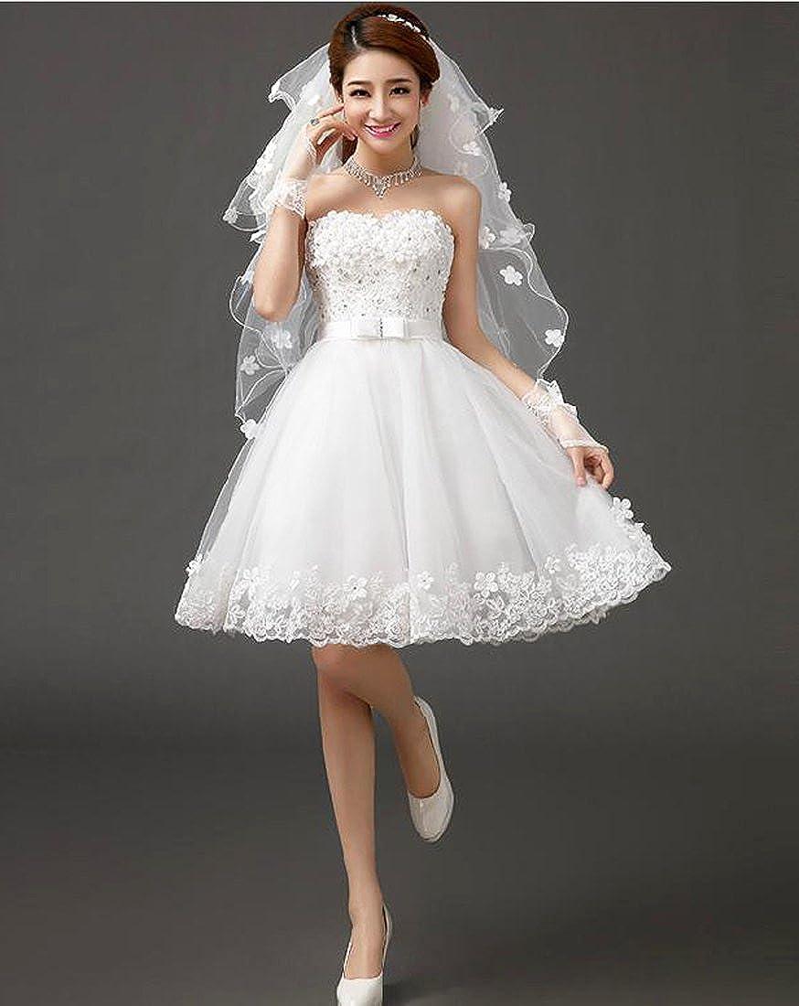 XJLY A Line Sweetheart Beaded 3D Flower Lace Short Wedding Dress Cocktail Dress