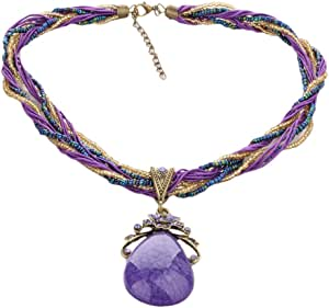 Necklace for Women of Beads of with Bohemian Stone Color dark purple Item No 1127 - 3