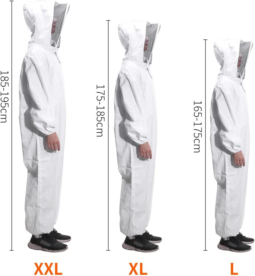 XL Beekeeping Suit,Super Thick Beekeeping Suit Foldable Fencing Veil Coverall Bee Protecting Suit Smock with Front Zipper