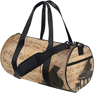 Travel Tote Luggage Weekender Duffle Bag Colored Piano Music Large Canvas shoulder bag with Shoe Compartment