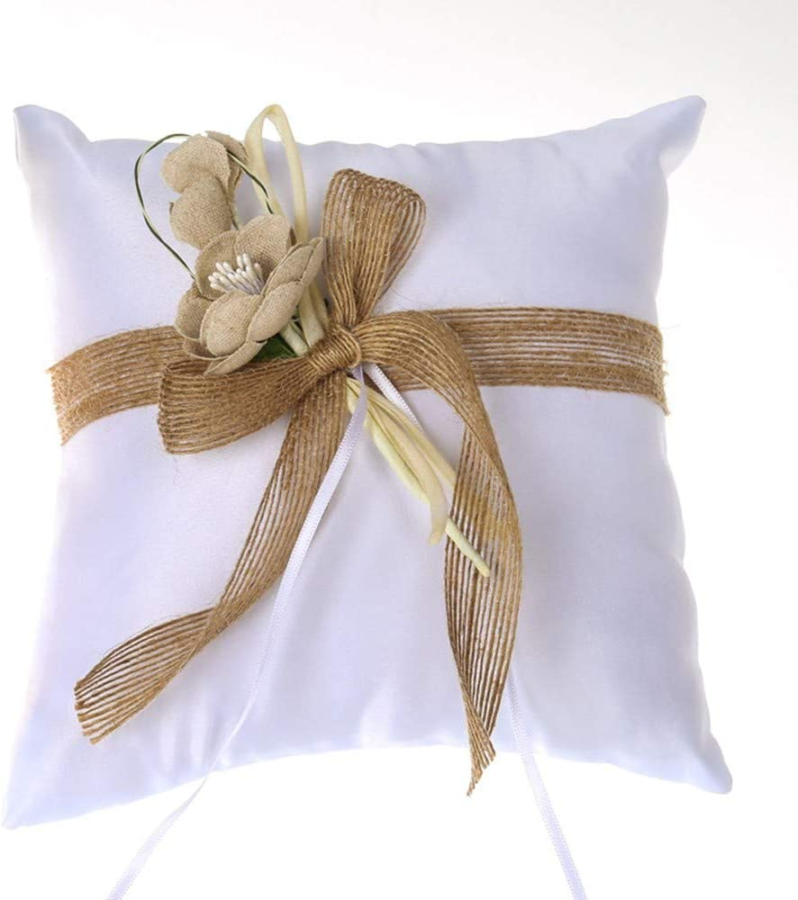 DENGSHENG SHOPS Almohada de Portador de Anillo, Cinta de algodón y Lino, decoración de Flores Cojín de Almohada de Anillo de Bodas para Bodas de Playa 7.7 Pulgadas: Amazon.es: Hogar