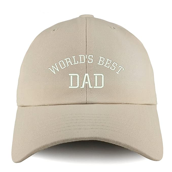 e65f23eb34d Trendy Apparel Shop World's Best Dad Embroidered Low Profile Soft Cotton Dad  Hat Cap - Beige