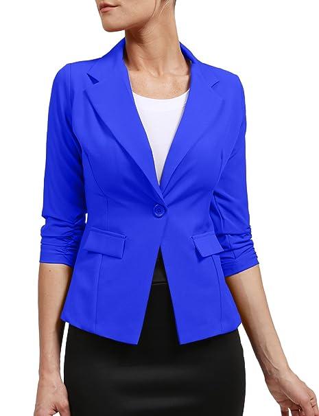 Amazon.com: Ne Womens traje de un botón 3/4 Sleeve Blazer ...