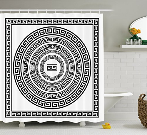 White Greek Drapes - Ambesonne Greek Key Shower Curtain, Traditional Meander Border Set with Square and Circles Antique Ethnic Frame Pack, Cloth Fabric Bathroom Decor Set with Hooks, 70 Inches, Black White