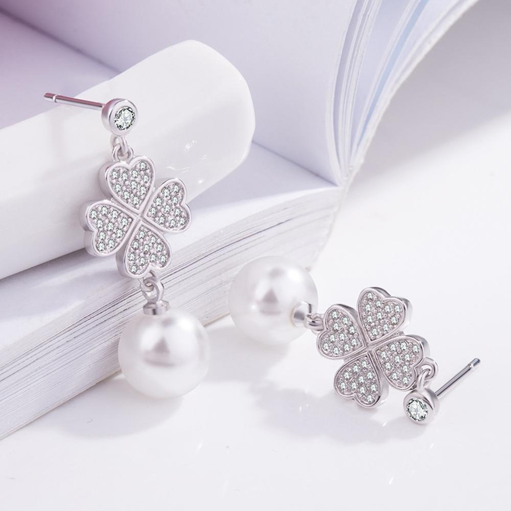 Daeou Womens Earrings s925 Sterling Silver Diamond Stud 32.6212.210mm Four-Leaf Pearl Earrings European and American Temperament high-Grade Jewelry