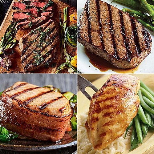 The Crowd Pleaser: 4 (10 oz) Ribeyes, 4 (8 oz) Top Sirloin, 6 (7 oz) Boneless Pork Chops with Hickory Bacon and 4 (7 oz) Boneless Chicken ()