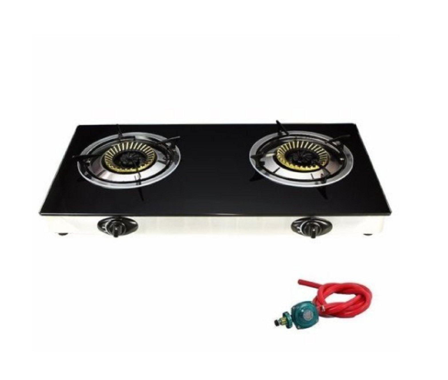USA Premium Store 2 Burner Stove Gas Propane Range Tempered Ignition Camping Outdoor Glass Cooktop by USA Premium Store