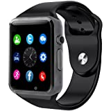 Bluetooth Smartwatch [Soft Strap], CHEREEKI Sports Wrist Watch 1.54 Inch LCD Touch Screen Smart Watch Supports SIM Card / TF Card with Pedometer Camera Sleep Monitor for Android Smartphones