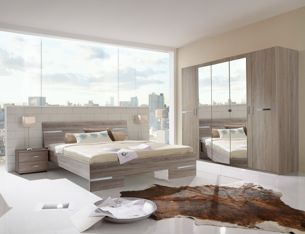 Superior Germanica BAVARI Bedroom Furniture Set With 5 Door Wardrobe, Bed U0026 2x  Bedside Cabinets In Dark Sonoma Oak Colour [Includes Full Assembly  Service]: ...