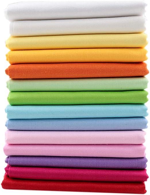 14 piezas de tela de color sólido de 46 x 56 cm, tela de algodón para costura de retazos de 18 x 22 pulgadas: Amazon.es: Hogar