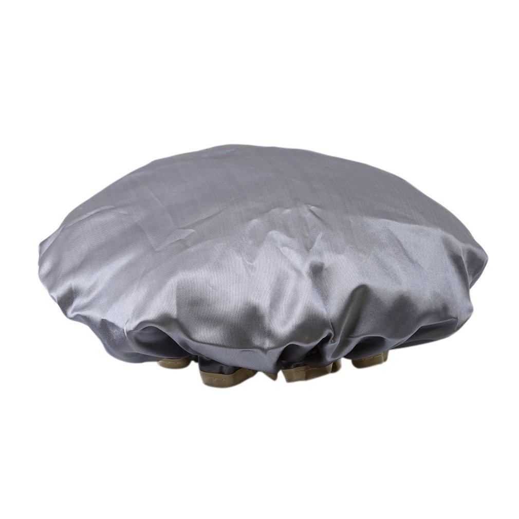 VWH Bonnet Chapeau De Douche Bain Protection Soin Anti-eau Etanche Cheveux Accessoire Double Layer Gris Yingwei