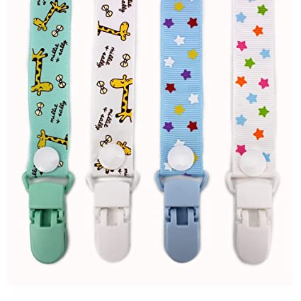 RUBY - Pack 4 Chupeteros de Colores Diferentes. Cadena Chupete Bebé con botón fijo adjustable (Divertido)