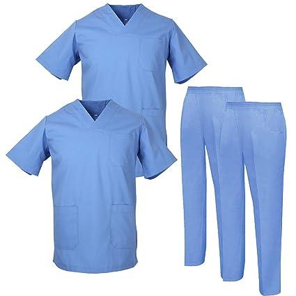 MISEMIYA - Pack * 2 Pcs - Casaca Y PANTALÓN Sanitarios Unisex Uniformes Sanitarios MÉDICOS 2-817-8312 - XS, Azul: Amazon.es: Ropa y accesorios