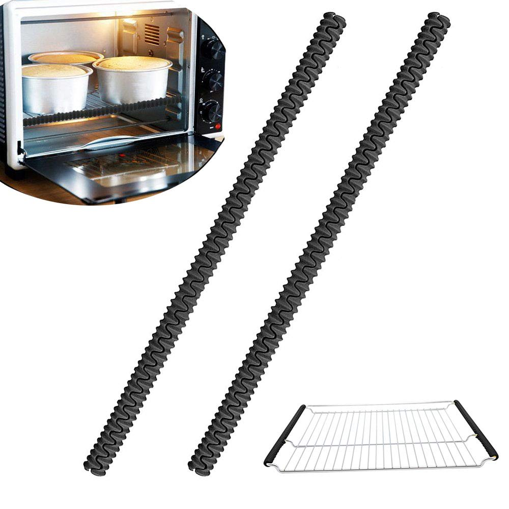 Leline's Oven Rack Guards, Silicone Oven Rack Shield Protectors, Black Oven Shelf Edge Cover, 14in, 2pcs