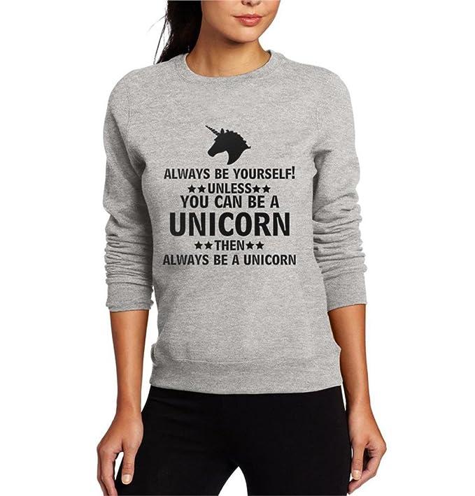 COCO clothing Sudaderas Cuello Redondo Unicornio Estampado Blusa Manga Larga Camisetas Casual Sweatshirt Alfabeto Top Pullover de Mujer: Amazon.es: Ropa y ...