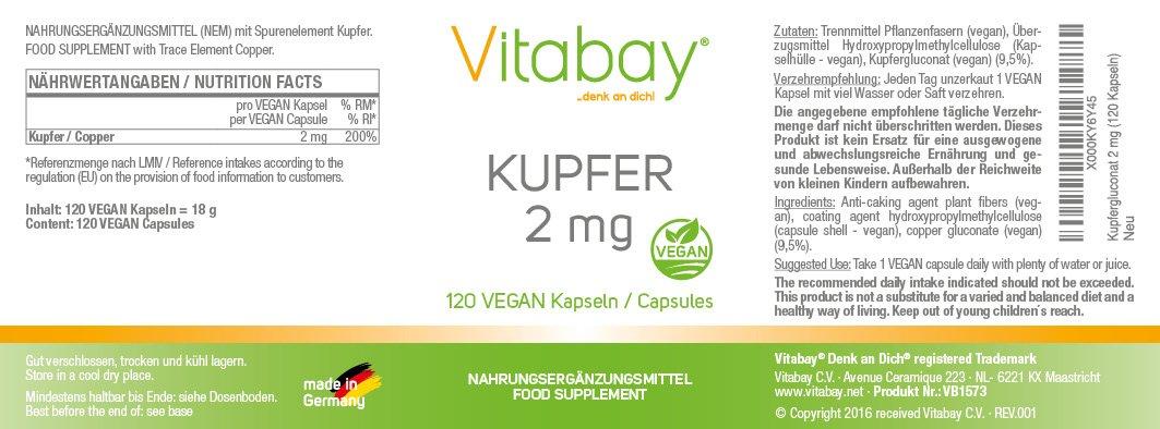 Cobre 2 mg - gluconato de cobre - puro vegano y natural - 120 cápsulas veganas: Amazon.es: Salud y cuidado personal