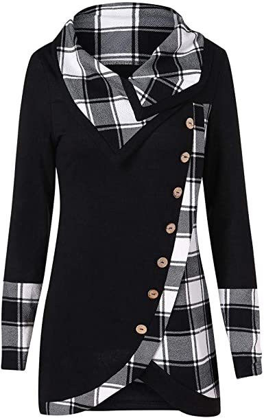 2019 Auwer Women Sweatshirt Patchwork Button Long Sleeve Casual Blouse Shirt Tops