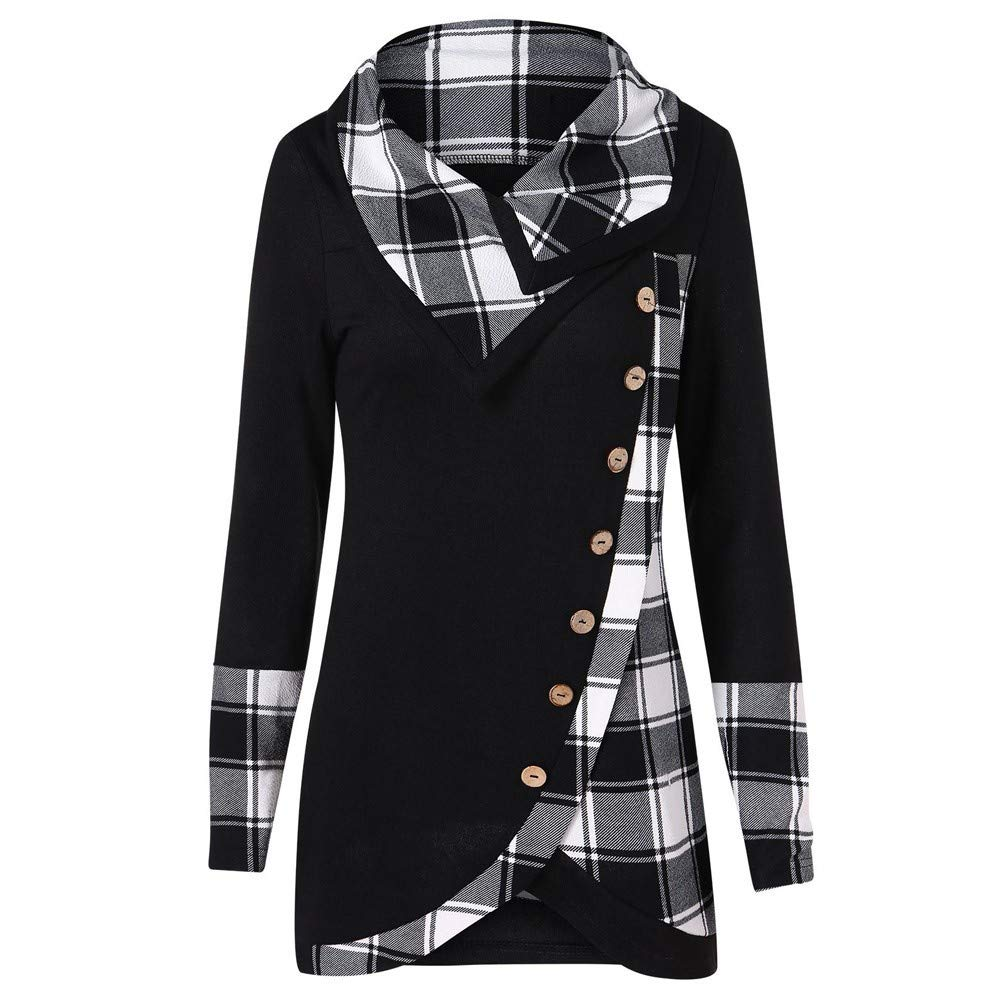 COPPEN Women Long Sleeve Blouse Turtleneck Tartan Tunic Sweatshirt Pullover Tops Black