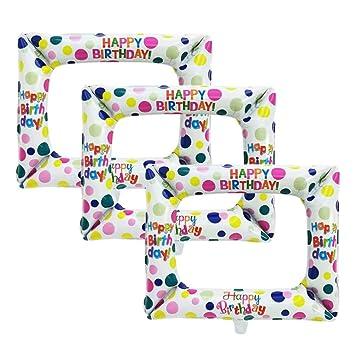 Amosfun 3 Piezas Marco Inflable Photo Booth Props Marco Photocall de HAPPY BIRTHDAY Selfie Marco de Imagen para Fiesta de Cumpleaños