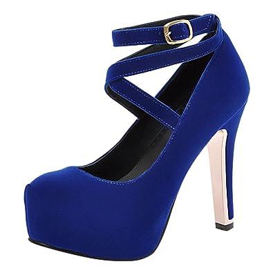 Damen High-Heels Plateau Runde Spitze Pumps mit Zwei Knöchelriemchen Elegant Schnalle Partyschuhe (35, Blau) MissSaSa