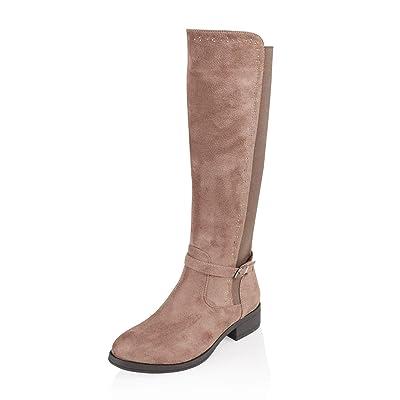 AIIT Women's Fashion Chunky Low Heel Knee High Boot Shoe   Knee-High