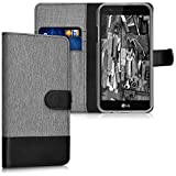 kwmobile Wallet case canvas cover for LG K4 Dual (2017) - Flip case with card slot and stand in grey black