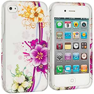 Accessory Planet(TM) Purple Flower Chain 2D Hard Snap-On Design Rubberized Case Cover Accessory for Apple iPhone 4 / 4S