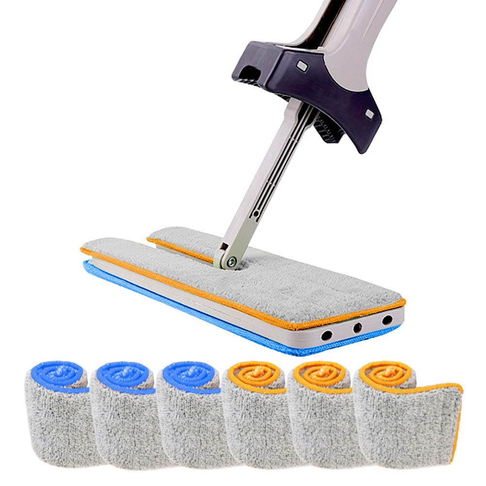 Double Sided Lazy Mop 360 Rotary Automatic Squeeze Microfiber Mop 13 (Inch) Home Cloth Mop for Clean Wooden Floor, Tile, Bathroom, Kitchen (Including 6 Mop Pads)