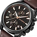 Mens Analog Quartz Wrist Watch, Sports Watch Waterproof with Chronograph Calendar Brown Leather Band