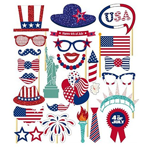 4th of July Photo Props for American Independence Day Patriotic Photo Booth Props Party Decorations Party Favors]()