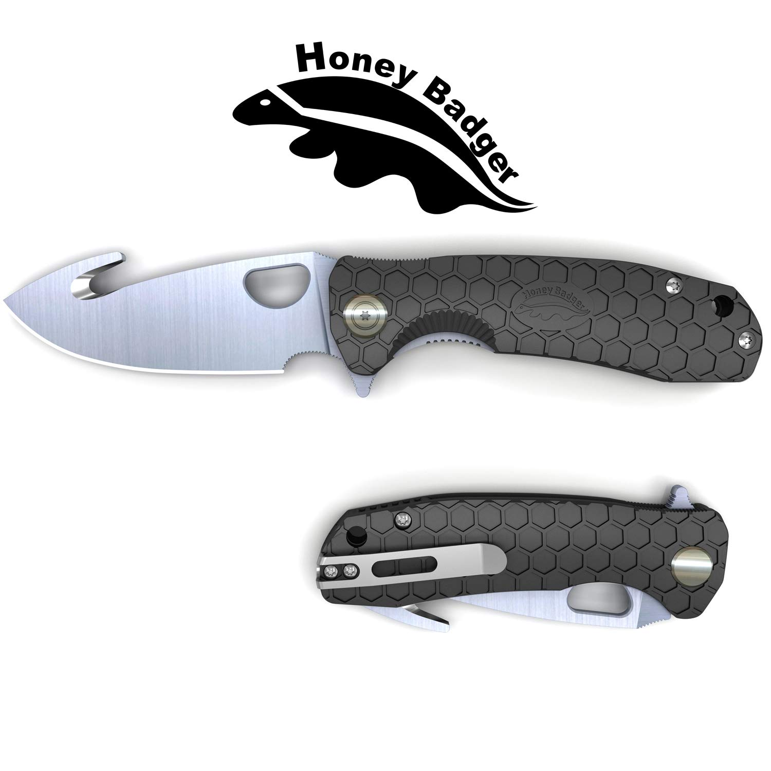Western Active Honey Badger Flipper Knife Claw and Hook Model Serrated or Smooth Blade (Hook Large Black) by Western Active