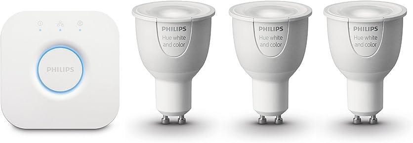 Philips Hue Colour and White Ambiance Wireless Lighting LED Starter Kit, 3 x 6.5 W GU10 Spot Light Bulbs, Hue Bridge 2.0, Apple Home Kit Enabled, Works with Alexa