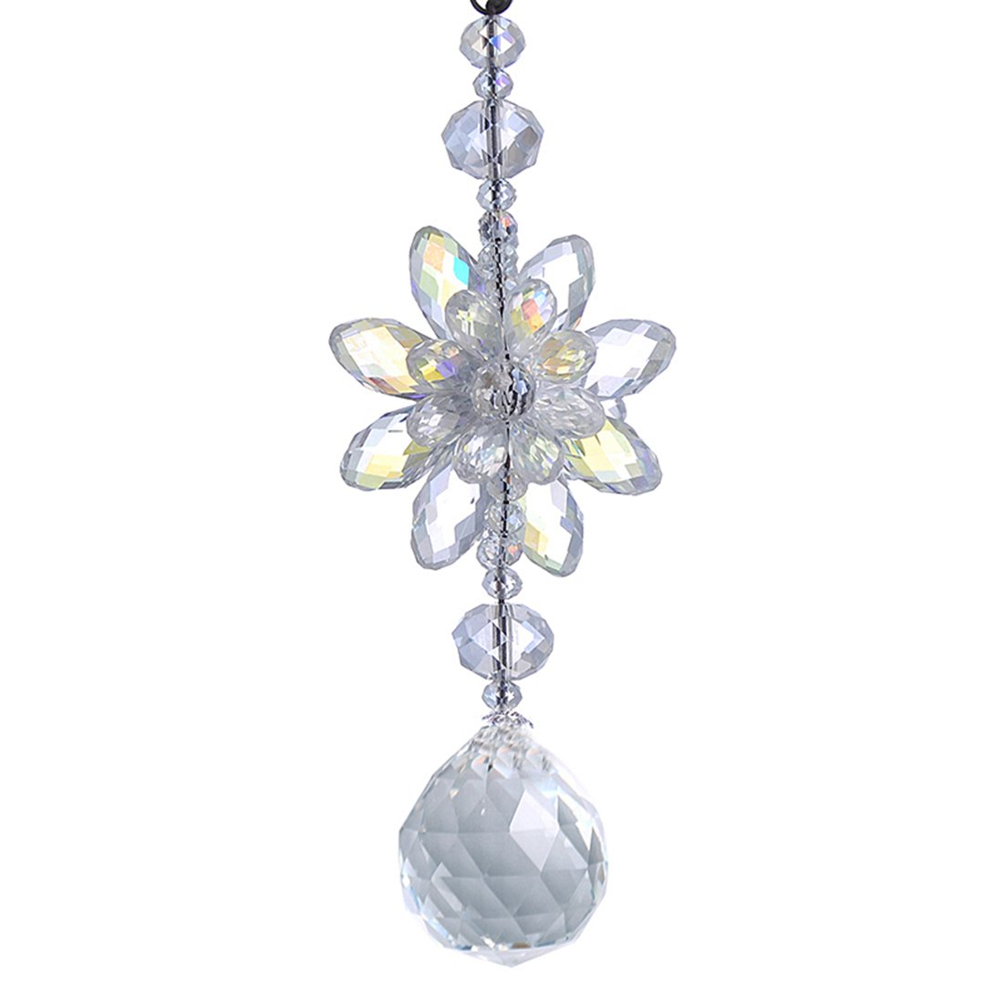 H&D Clear Hanging Crystal Ball Prisms Flower Fengshui Ornament Suncatcher Rear View Mirror Car Charm Decor