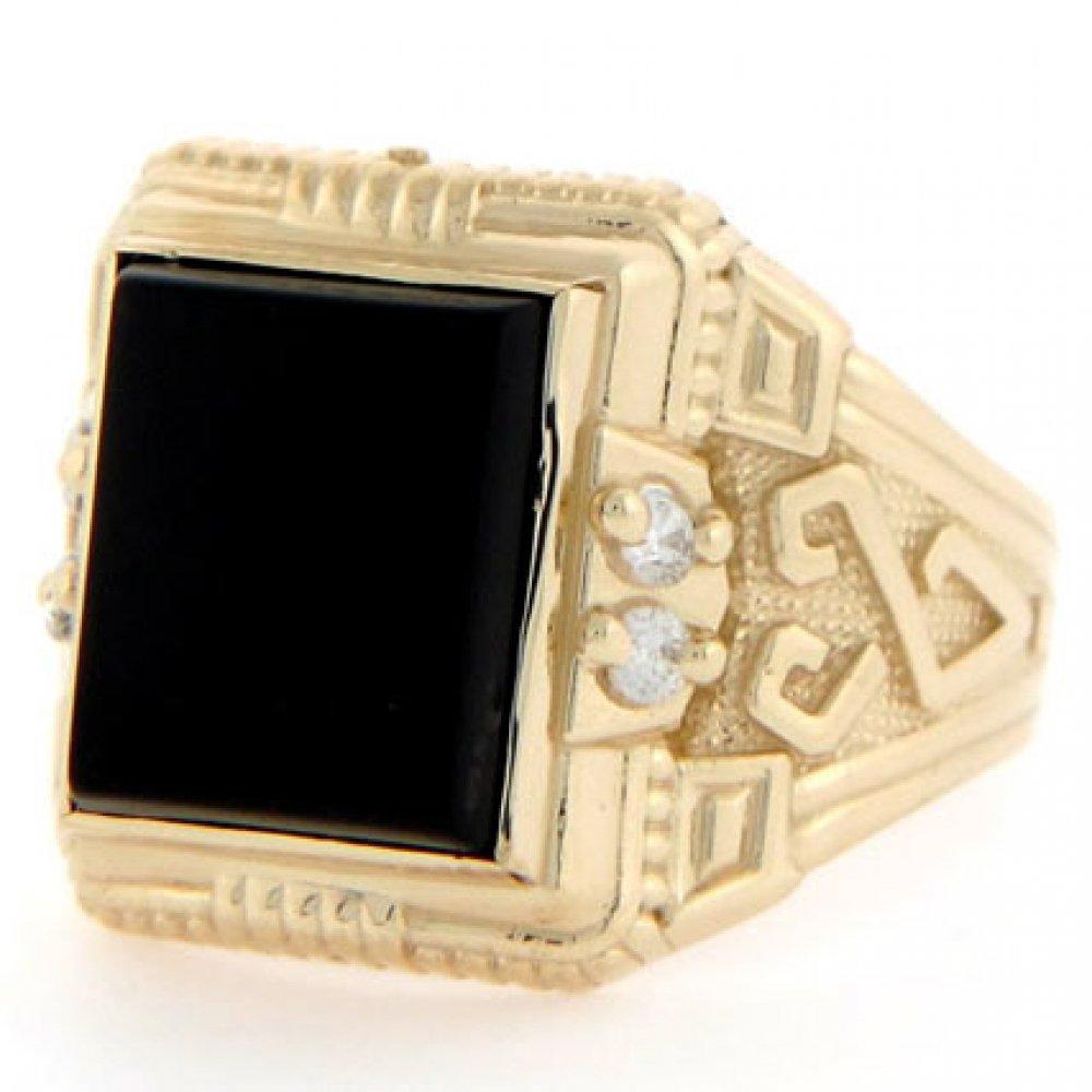 Jewelry Liquidation 10k Solid Gold 12 X 10mm Rectangular Onyx CZ Mens Ring
