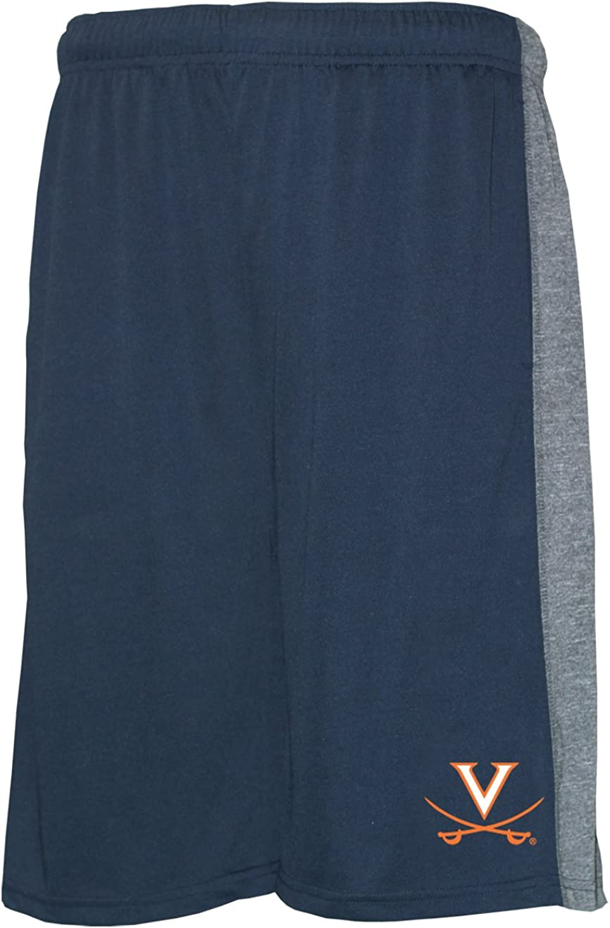 X-Large Navy//Grey Old Varsity Brand NCAA Virginia Commonwealth Rams Mens Poly Shorts with Side Panel