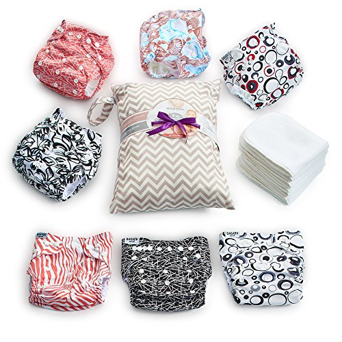 Cloth Diapers - 15 pcs Set of 7 Baby Cloth Diaper Covers, 7 Reusable Diaper Inserts Liners, 1 Waterproof Carry Bag - All in One Pack - Unisex Pocket Design for Boys & Girls - Great for Baby Shower from QAQADU