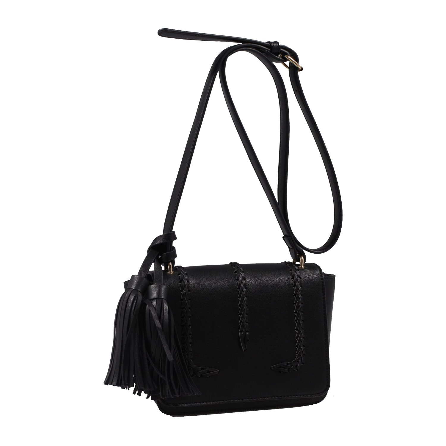 21570feb65c6 Isabelle Designer Inspired Whipstitched Faux Leather Crossbody Bags -  Black: Handbags: Amazon.com