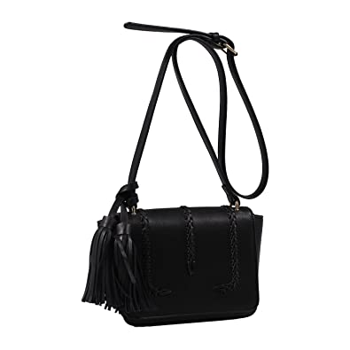 50a4f6ee10c Isabelle Designer Inspired Whipstitched Faux Leather Crossbody Bags - Black   Handbags  Amazon.com
