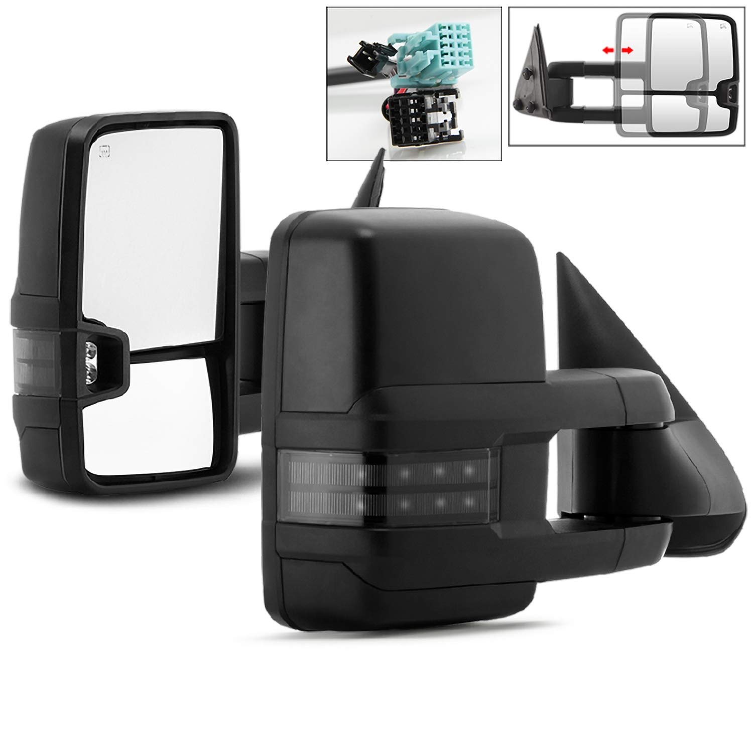 For 03-07 Tahoe//Yukon DNA Motoring TWM-015-T888-BK-SM-L Powered Tow Mirror+Heat+LED Smoked Left//Driver