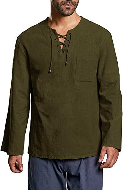 Mens Casual Long Sleeve Lace-up V Neck Cotton Line Tops Shirt Blouses