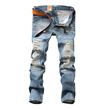 Vaqueros Rectos Para Hombre, Pantalón Mezclilla Pantalones Vaqueros Destruido Slim Fit Rasgado Jeans #067