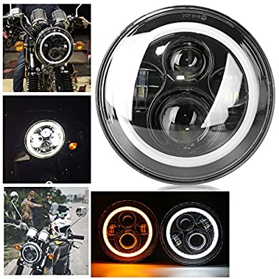 Athiry 7inch Round LED Headlight Projector Daymaker Hi/Low Beam DRL Halo