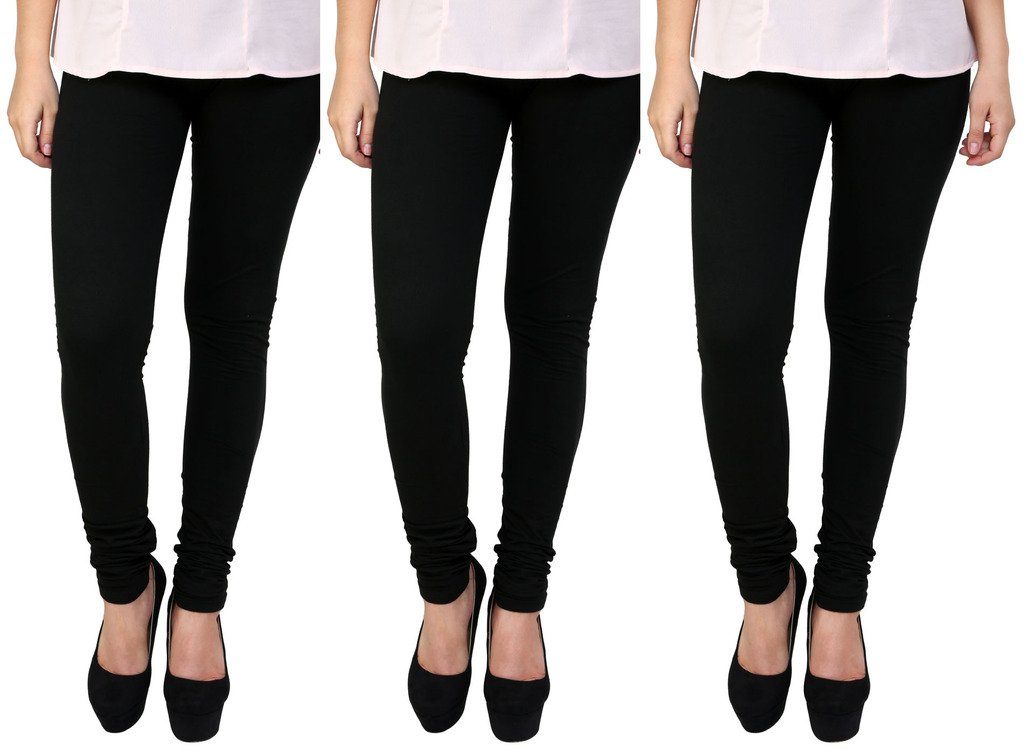 Anekaant Cotton Lycra Women's Legging Pack of 3 in Black