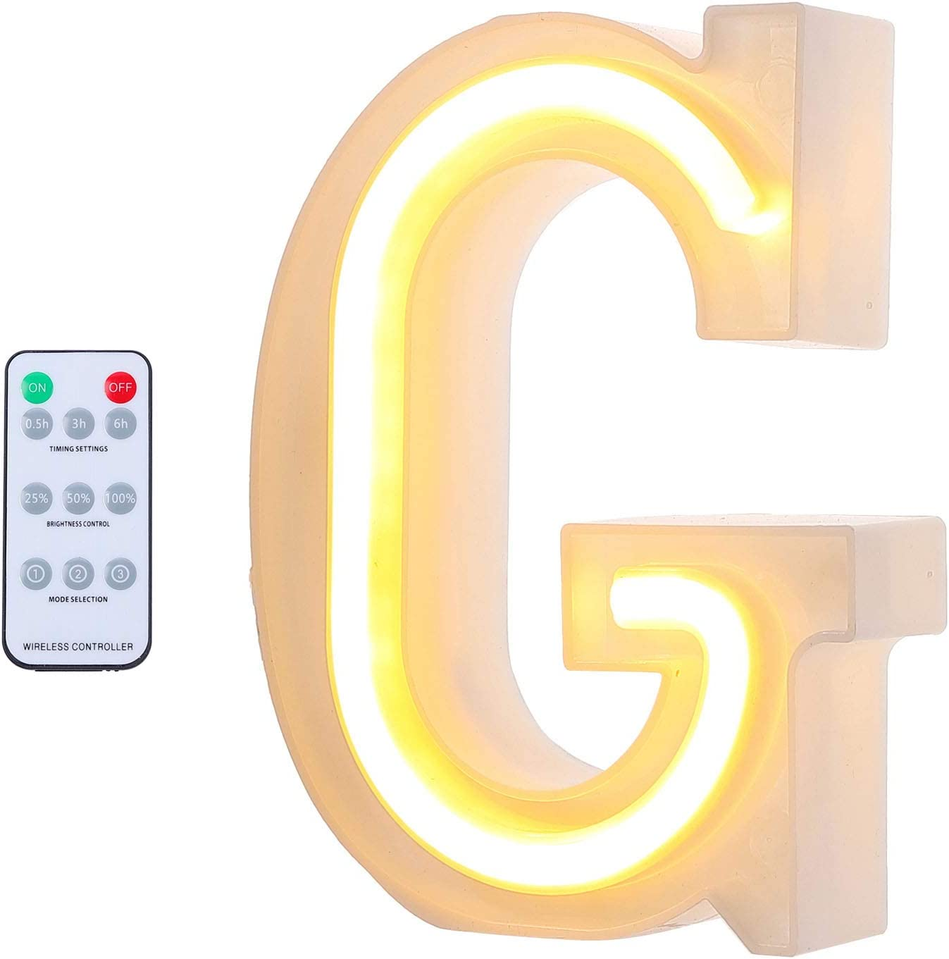 GLORYA Letter Wall Decor, Warm 26 LED Big Marquee Letter Light Up, Including 6 Modes of 40-Meter Wireless Remote Control, Can be Used for Bedroom Decoration on Weddings, Confession and Birthday G