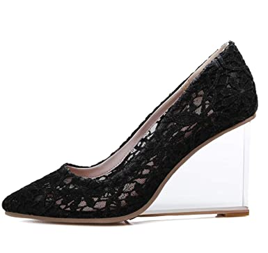 a02beb64c68b Image Unavailable. Image not available for. Color  Lace Wedges High Heels  9cm Shoes For Woman Slip On Clear Shoes