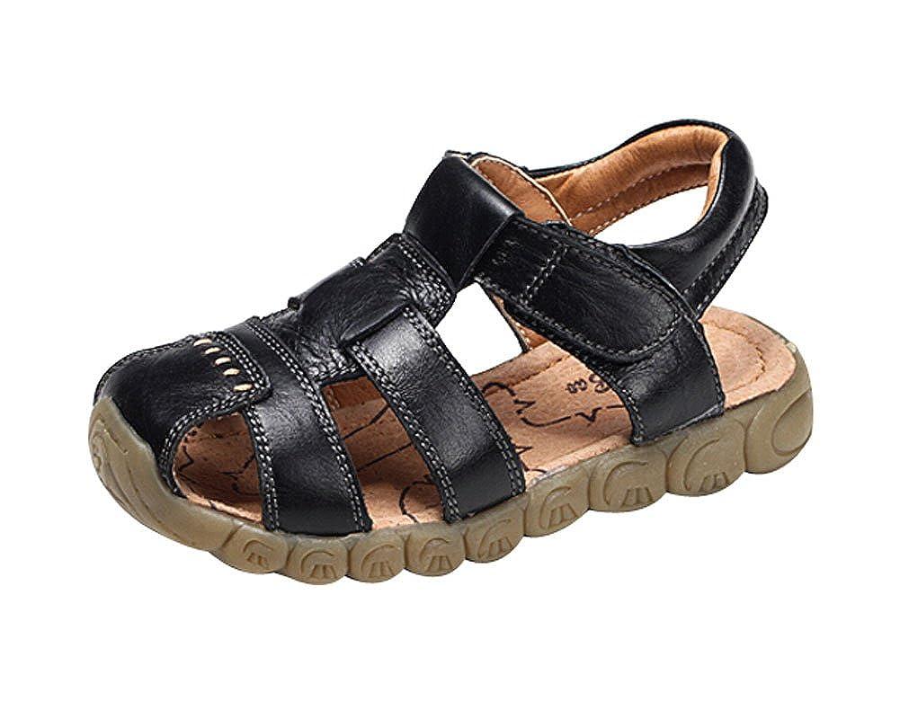 Feet Length 14CM Boys Summer Leather Casual Beach Sandals Black