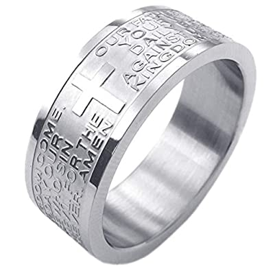 33bfff2309 FIVE CENTS Christian Prayer Rings for Women Men Jesus Cross Bible English  Lord's 8mm Band Stainless