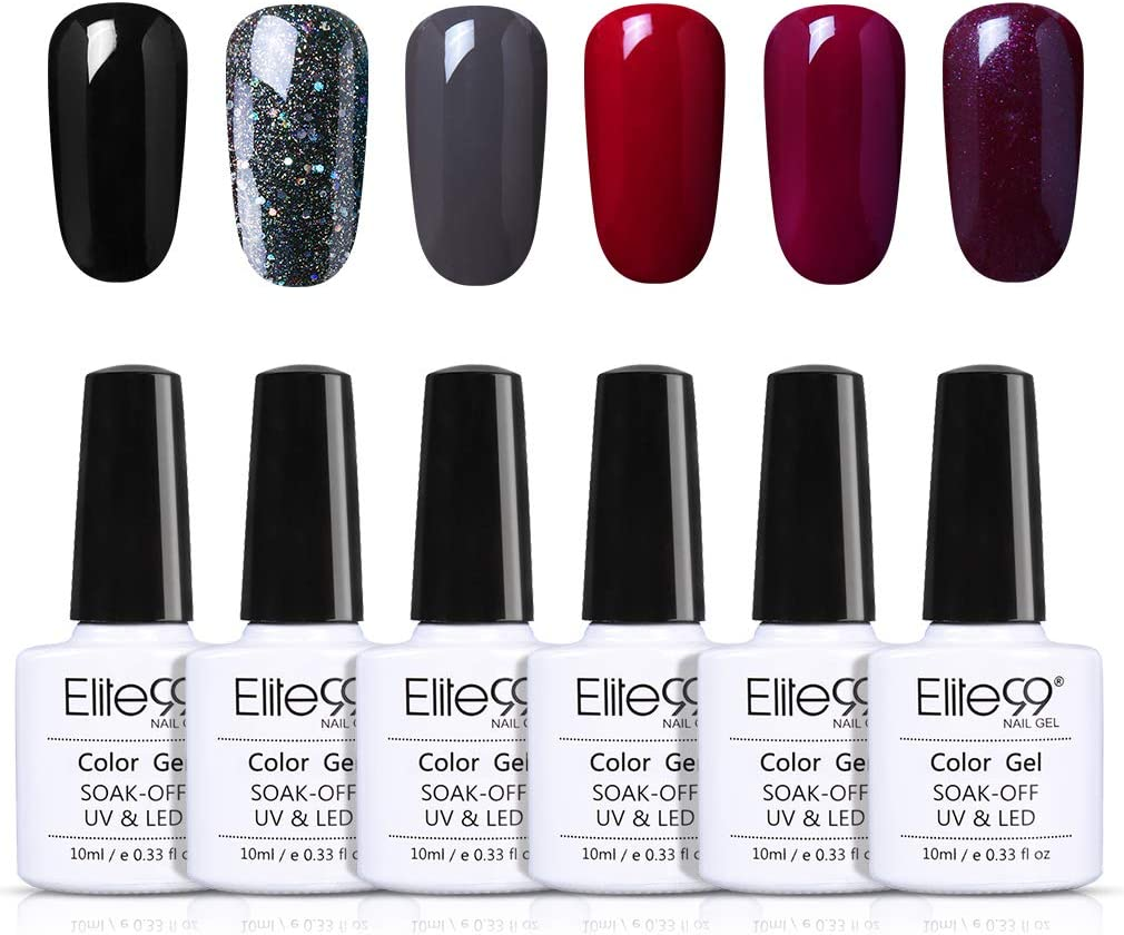 Elite99 Esmaltes Semipermanentes de Uñas en Gel UV LED, 6pcs Kit de Esmaltes de Uñas 10ml 019