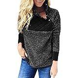 b47ddebbd6 Rambling Women s Warm Long Sleeves Oblique Button Neck Splice Geometric  Pattern Fleece Pullover Coat Sweatshirts Outwear