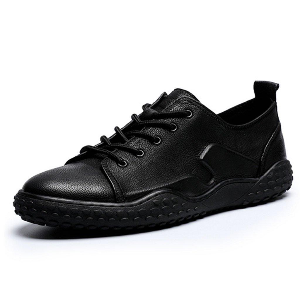 GAOLIXIA Hombre Zapatillas Zapatos de cuero clásicos Zapatos planos ocasionales Zapatillas de skate para estudiantes de moda Zapatos ligeros para caminar (Color : Black, tamaño : 38) 38|Black